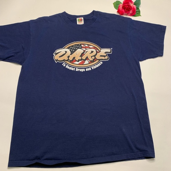Fruit of the Loom Other - D.A.R.E. Mens XL 100% Cotton Blue Short Sleeve Tee